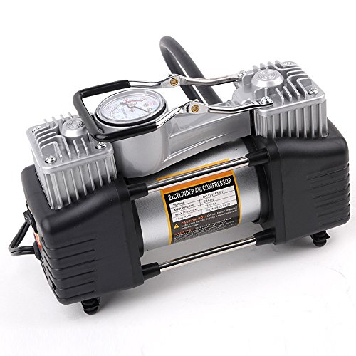 automaze double cylinder metal 12v dc electric car tire inflator with pvc case, alligator clamps Automaze Double Cylinder Metal 12V DC Electric Car Tire Inflator With PVC Case, Alligator Clamps 51jtCiaBxeL