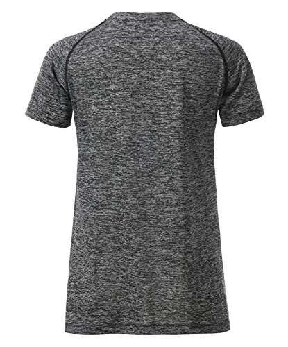 James & Nicholson Damen Ladies' Sports T-Shirt Schwarz (Black-Melange/Black)