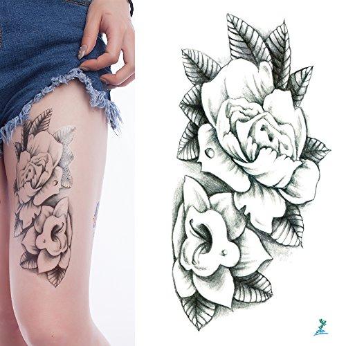 5151ed8bde9a3 10 hojas Yeeech Tatuajes temporales pegatinas serie flores diseños para  mujer impermeable, negro, 4.7