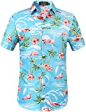 SSLR Chemise Hawaïenne Homme Flamants Fleurs Casual Manche Courte (Medium, Bleu)