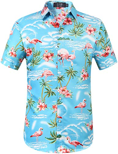 SSLR Herren Hemd Hawaiihemd 3D Gedruckt Flamingos Kurzarm Aloha Freizeit Hemd Button Down Shirt für Strand Reise (Large, Blau)