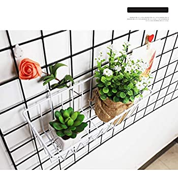 Grid Wall Mesh Panneau daffichage Decorative Iron Rack Clip Photograph Wall Hanging Image Mur Ins Art Display Photo Mur Oucles Grid Photo Wall Ensemble de 2 25.6x17.7 Pouces Noir