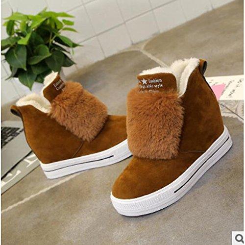 Zapatos Hsxz Mujer Pu Otoño Invierno Comfort Botas Botines Planos Redondos / Botines Ropa Casual Negro Camel Negro