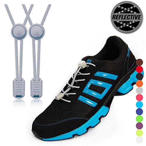 stoutgears Reflektierende Keine Schuhe binden Lock System-Elastische Schnürsenkel für Sneakers (1Paar)