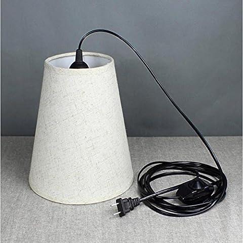BJVB Solo alambre de lámpara Faro coser con paño de línea de 1.8 M de 20 cm (rojo / blanco / negro) de interruptor y zócalo ajustable incandescente luz con sombra de ojos Sombra) . c