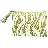 Chic Gold Tone Leaf Stripe 11 X 7 Womens Canvas-Like Full Zip Top Travel Pouch Bag