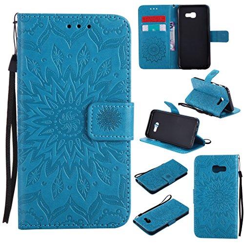 Galaxy A5 2017 Hülle,Smytu Stand Hülle mit Kartenfächer und Bargeld Etui Klapphülle Magnetisch Flip Bumper Ledertasche Schutzhülle für Samsung Galaxy A5 2017 (Blau)