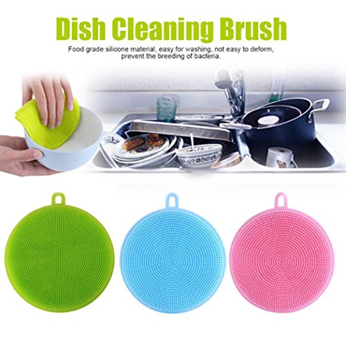 wuayi 3 Pieces Silicone Dish Washing Sponge Scrubber Multi-functional Kitchen Cleaning Antibacterial Tool (3 Sets)