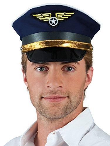 (Piloten Mütze Kapitän schwarz blau gold)