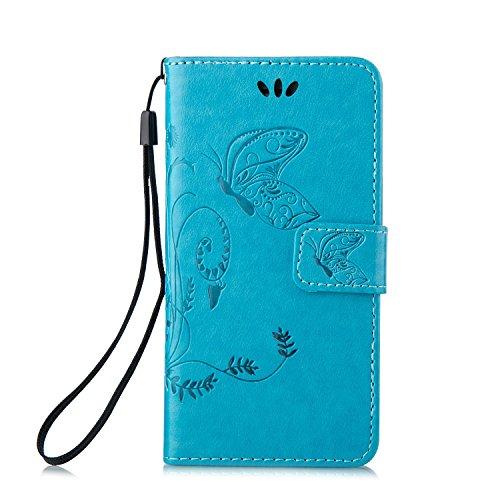 """iPhone 6S plus Wallet Case, Felfy Grün Slim Flip Folio Bookstyle Schutzhülle Case Cover für Apple iPhone 6 / 6S plus 5.5"""" Unique Baum Blatt Magnetverschluss Stil Standfunktion Kartenfach mit Abnehmbar Blau Hülle"""