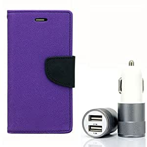Aart Fancy Diary Card Wallet Flip Case Back Cover For Nokia 520 - (Purple) + Dual ports USB car Charger With Ultra Power Technolgy by Aart Store.