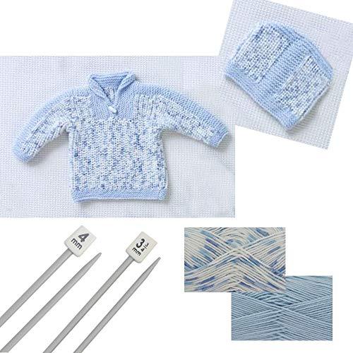 Double Tricot à col roulé et chapeau à tricoter Lot (5331) Blue Starter Pack (9-24 Months)