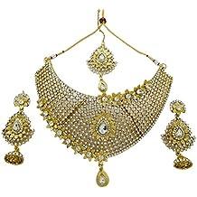 bf6abe5d0746 Banithani Étnica Dorado diseñador Indio 3 PC Pendientes del Collar de la  joyería ...