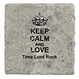 Keep Calm and Love Time Lord Rock–Marble Tile Glas Coaster