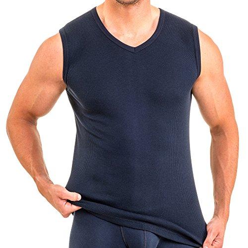 HERMKO 16058 Herren Muskelshirt Baumwolle/Modal Doppelripp, Farbe:Marine, Größe:D 5 = EU M -