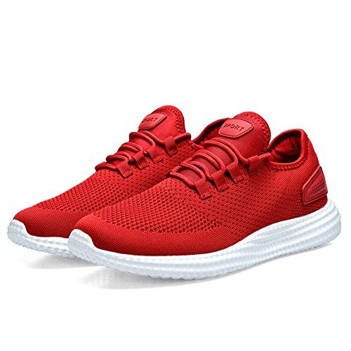 Herren Laufschuhe Leicht Turnschuhe Atmungsaktiv Straßenlaufschuhe Männer Sneaker Schuhe Sportschuh Sommerschuhe Freizeitschuhe 189 Rot 46