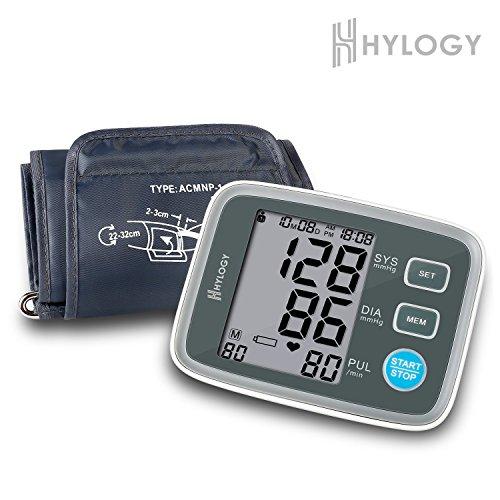 Digitale Blutdruckmessgerät, Hylogy Automatische Oberarm BP Monitor Manschette 8,7 bis 12,6 Zoll, Großbild-Display und 2 Benutzer-Modus 2 * 90 Speicher