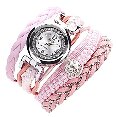Sunnywill Feine Leder Band wicklung Analog Quartz Movement Armbanduhr (Pink)