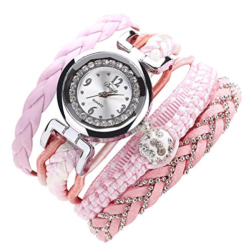 Sunnywill Feine Leder Band wicklung Analog Quartz Movement Armbanduhr (Pink) Band In A Box 2012