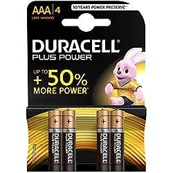 Duracell Plus Power Pilas Alcalinas AAA, paquete de 4
