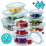 Masthome 9 Glas-Aufbewahrungsbehälter für Lebensmittel, Vorbereitung, Frische Aufbewahrungsbox mit Deckel für Mittagessen, Picknick und Reisen
