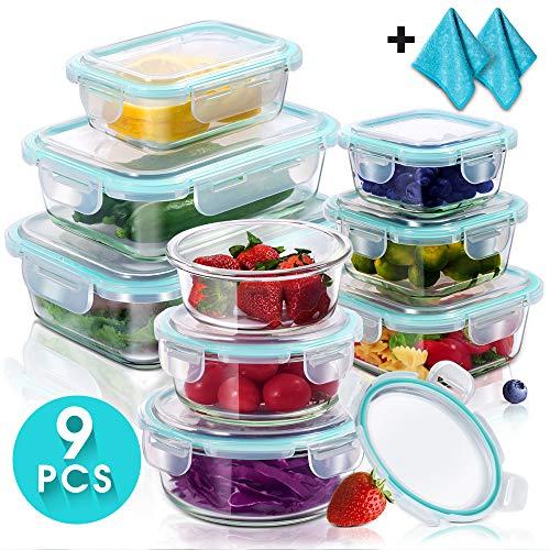 Masthome 9pcs contenitori per cibo pasto prep fresh, contenitore in vetro con coperchio per il pranzo, picnic e viaggi