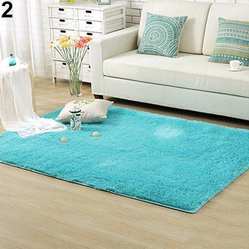 Homeofying Plüsch-zotteliger weicher Teppich, für Schlafzimmer, Rutschfeste Fußmatte, Polyester, blau, 60cm by 120cm - Salbei Shag Teppich