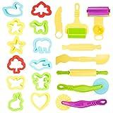 20 teilig Knetwerkzeug Kinder Plastilin Werkzeug Knete Ausstechformen Backset mit Teigrolle Knete Spielzeug Küchenspielzeug für kinder