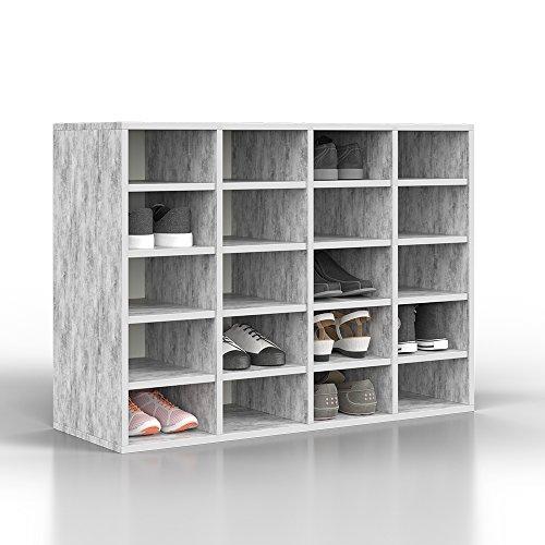 VICCO Schuhregal LYSANDER für bis zu 20 PAAR Schuhe Schuhschrank Schrank Schuhständer Schuhe Schuhablage Standregal Beton Grau XL