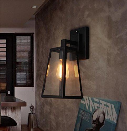 DZW Nordic Rétro Style Industriel Lampe de Mur de Fer Lampe de Mur de Verre Restaurant Loft Bar Éclairage Décoratif, Source de Lumière E27 * 1, Taille 17 * 26 cm,Simple