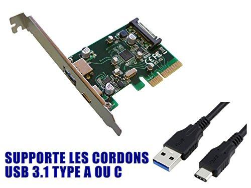 KALEA-INFORMATIQUE PCI-Express-Karte (PCI-E) auf USB 3.110GB-2Externe Ports: 1x Typ A + 1x Typ C-Chipsatz asm1142-Windows XP, Vista, Seven, 8, 8.1, 10 - 10-gb-usb -