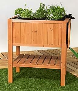 hochbeet pflanztisch kr uterbeet tannenholz mit ablage f r balkon und terrasse garten. Black Bedroom Furniture Sets. Home Design Ideas