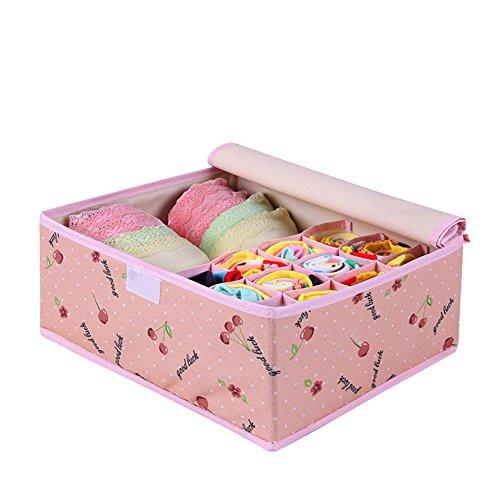 Qubabobo eco-friendly in tessuto Oxford impermeabile pieghevole Storage box per reggiseno biancheria intima calzini Pink Cherry