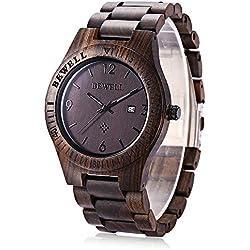 BEWELL Reloj de Cuarzo Analógico para Hombre de Madera con Funsión del Canlendario(Madera de ébano )