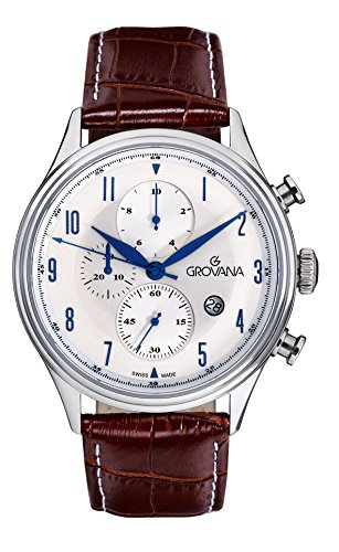 Grovana Men's Quartz Watch with Silver Dial Chronograph Display and Brown Leather Strap 1192.9532