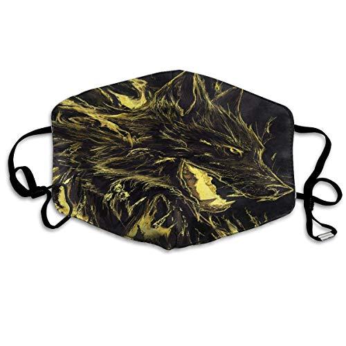 Vbnbvn Unisex Mundmaske,Wiederverwendbar Anti Staub Schutzhülle,Gesichtsmaske Golden Rage Wolf Anti Pollution Washable Reusable Mouth Masks for Man Woman -