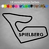 Generic Spielberg Aufkleber 18x12cm Rennstrecke Formel 1 Red Bull Ring Layout Österreich in 18 Farben