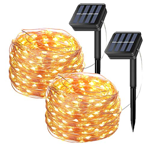 2 Pack Solar Fairy String Lights, 20 Meters/66ft 200 LED 8 Modes Copper Wire Starry Lights, Indoor/Outdoor Solar Lights for Christmas,Garden,Home,Patio,Wedding,Party-Warm White