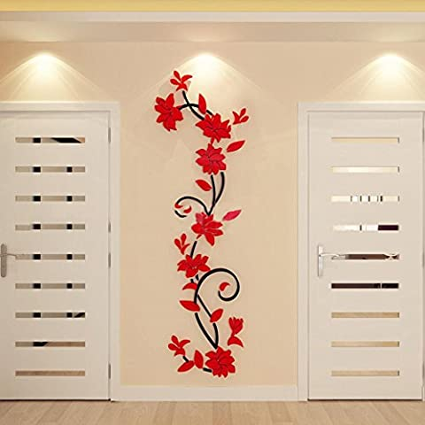 Indexp 3D Stereoscopic DIY Crystal Plant Flowers Wall Stickers for Living Room Bedroom TV Background Home Decoration (Red)