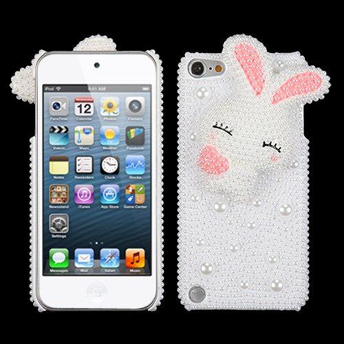 Schutzhülle für Apple iPod Touch 5. 6. Generation (aufsteckbar, Motiv Kaninchen mit pinkfarbenen Rendering Ears)