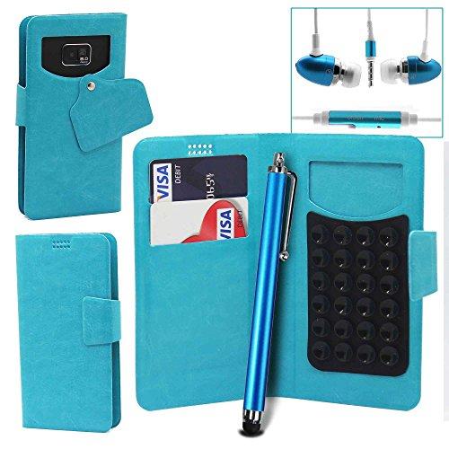Pour LG Bello II (Bello 2) Portefeuille et étui de protection à ventouses en cuir PU très fin de très grande qualité avec stylet et Écouteurs intra-auriculaires - Blanc/White - par Gadget Giant® Bleu Baby/Baby Blue- avec écouteurs + Stylet
