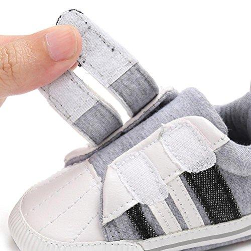 Igemy 1 Paar Neugeboren Säugling Baby Mädchen Jungen Krippe Schuhe Soft Sole Anti-Rutsch Sneakers Leinwand Weiß