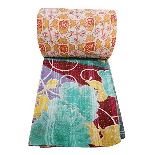 Estampado de flores Gudri Beige Puro Algodón Doble edredón Kantha Vintage colcha de la cama