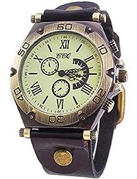 Sannysis Deportes Relojes de pulsera Reloj de cuero vintage color negro f3ed523e7c7a