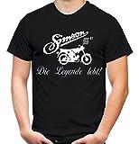 Simson Die Legende Männer und Herren T-Shirt | DDR Osten Schwalbe Trabant Wartburg (XXL, Schwarz)