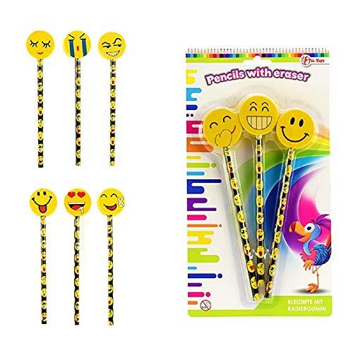 Unbekannt 12 Bleistift mit großem Radiergummi Smiley Mitgebsel Tombola Kindergeburtstag