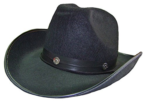 Cowboyhut Schwarz für Herren - Klassischer Hut zum Wilder Westen Sheriff Kostüm (Schwarze Kostüm Weste)