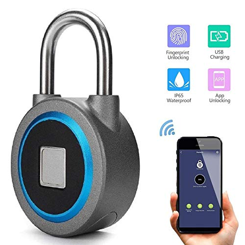 Impermeable Sin llave portátil Bluetooth inteligente Bloqueo de huellas dactilares Candado antirrobo...
