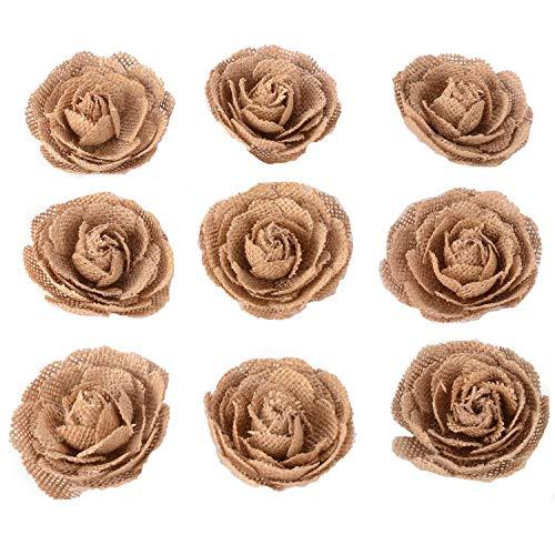 Advantez Hessian Jute Toile de jute Rose Fleurs pour noël décoration de fête Accessoires de cheveux Scrapbooking 9-Pack 3 '