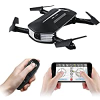 Foldable Drone, JJRC H37 RC Quadcopte Camera Drone 2.4G 4CH Mini Wifi FPV High Hold Mode selfie 0.3MP Camera Phone Control RC Quadcopter (Mini H37+1 battery) from Haibei